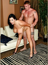 Busty brunette Angelica Sin jumping on her mans hard and long cock