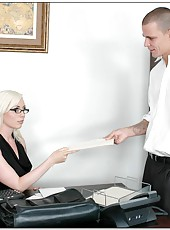 Tattooed blonde office milf Lorelei Lee sucks and fucks young man