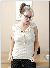 Succulent huge breast and hot glasses making Brandy Talore a fantastic woman