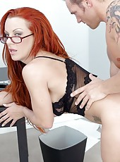 Buxom redhead milf in hot glasses Shannon Kelly sucks and rides with passion