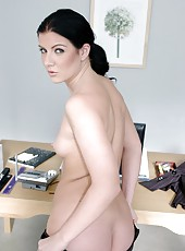 Office lady Taryn Thomas takes off her clothes before fucking on the table
