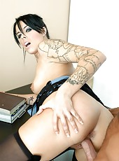 Tattooed brunette minx Demi Marx pounded sweet in the office