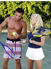 Busty Katie Summers realizes her exciting dreams right on the tennis court