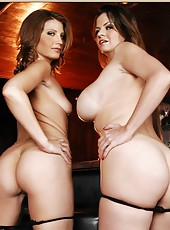 Athletic babe June Summers posing with her friend and showing delicious tits