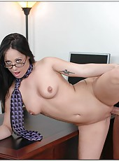 Delicious brunette in glasses Kylee King spreads her legs in the office