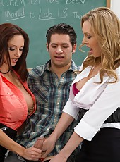 Hardcore threesome with naughty and busty ladies named Ava Addams and Tanya Tate