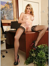 Elegant whore Cory Chase rubs her pussy and gets a really hot dick