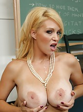 Pretty milf Charlee Chase shows her big tits and a gentle trimmed pussy
