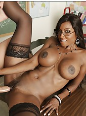 Ebony milf teacher Diamond Jackson seduces white student with her huge boobs