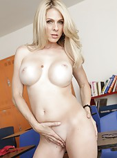 Fair-skinned blonde milf Angela Attison excites with her great boobs
