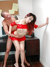 Slender and skinny Asian babe Katsuni gets pounded in the ass and tastes cum