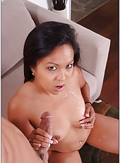 Hot Asian babe Tasha Lynn sucking a long cock and being drilled by it