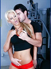 Glamorous blonde babe with fantastic boobs Tanya James makes her trainer wild
