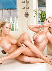 Naughty blondes Nikki and Tasha show their tight holes and sexy asses