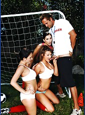 Sexy soccer players Carmen McCarthy, Mindy Main and Tristan Kingsley fucking with trainer