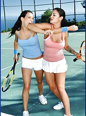 Three tennis players Penny Flame, Victoria Sin and Angelina Valentine got a dick