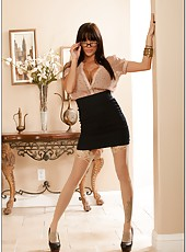 Naughty brunette milf Gia Dimarco looks crazy and hot in the glasses