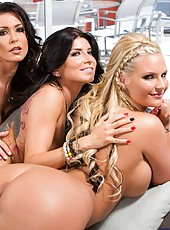Threesome with passionate ladies named Jessica Jaymes, Phoenix Marie and Romi Rain