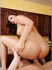 Black-haired mistress Rilynn Rae shows her excellent big ass and meets fat cock