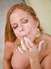 Sexy milf with big tits and gorgeous tight pussy Nikki Delano facialized intense