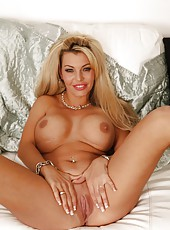 Luxury blonde milf with huge boobs Daniella Aire facialized after strip and fuck