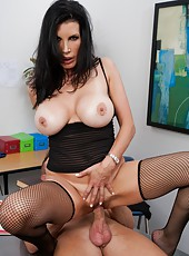 Provocative and busty lady Shay Sights fucks like a wild in her cabinet