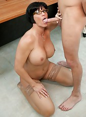 Short-haired strict and hardcore lady Shay Fox amazes with her boobs and blowjobs