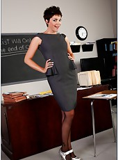 Short-haired brunette teacher Charlie James can not resist and seduces a student