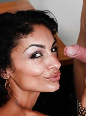 Provocative brunette milf with big boobs Persia Pele sucks with passion