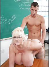 Mature blonde teacher with incredibly huge boobs Kayla Kleevage fucked in the ass
