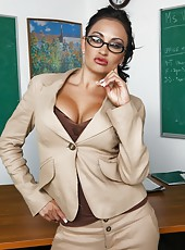 Sexy milf teacher Claudia Valentine with plump lips and big boobs fucks in her classroom