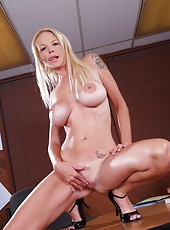 Petite and cute blonde with giant boobs Leah Lust gets fucked in office