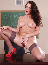 Delicious forms by hot teacher Piper Austin making her student erected