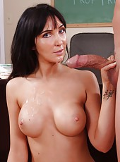 Brunette milf Diana Prince checks out if her student is ready for an exam