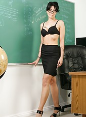 Super slender brunette teacher with beautiful legs Zoey Holloway fucked on the table