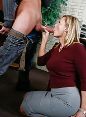 Blonde milf Becca Blossoms treats him with big tits and still very tight pussy
