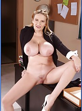 Hot teacher with dangerously huge boobs Lynn LeMay wants to feel young meat in her pussy