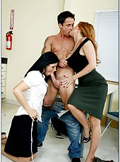 Awesome threesome with two experienced milfs India Summer and Janet Mason
