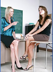 Hungry for orgasms teachers Mrs. Emma Starr and Mrs. Nika Noir meet hot student