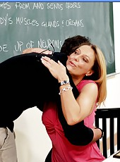 Sexy teacher Brenda James hugs her ex-student