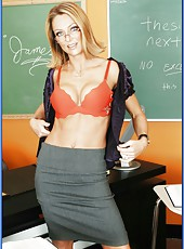 Sexy milf teacher with ravishing blue eyes Brenda James fucked in the classroom