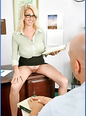 Extremely busty blonde Mrs. Penny Porsche caught by hungry student