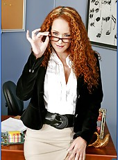 Curly haired redhead teacher Mrs. Kitty Caulfield fucks in her cabinet
