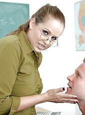 Fatty teacher Mrs. Kayla Raynes willingly opens her mouth and pussy for a cock