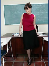 Huge titted mature teacher Mrs. Maya Divine banged by a student