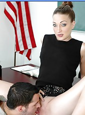 Crazy hot fucking in a classroom with horny brunette milf Rachel Luv