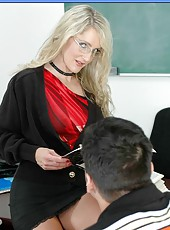 Fascinating blonde teacher in glasses Lori Lust seduces hungry student