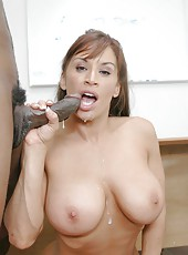 Delicious teacher with big tits Devon Michaels fucked by big black student