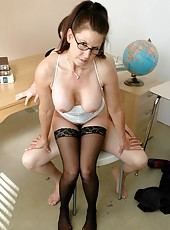 Delicious brunette teacher Selena Steele shows her student what is real delight