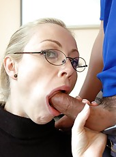 Blonde teacher with big natural tits named Adrianna Nicole got two cocks
